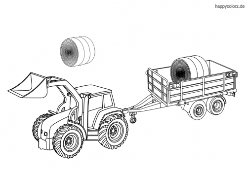 Traktor mit Anhänger Ausmalbild