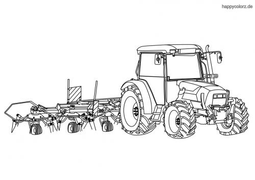 Traktor mit Heuwender Malvorlage