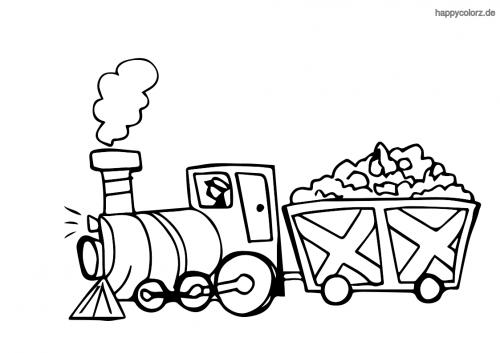 Einfache Dampflok mit Anhänger Ausmalbild
