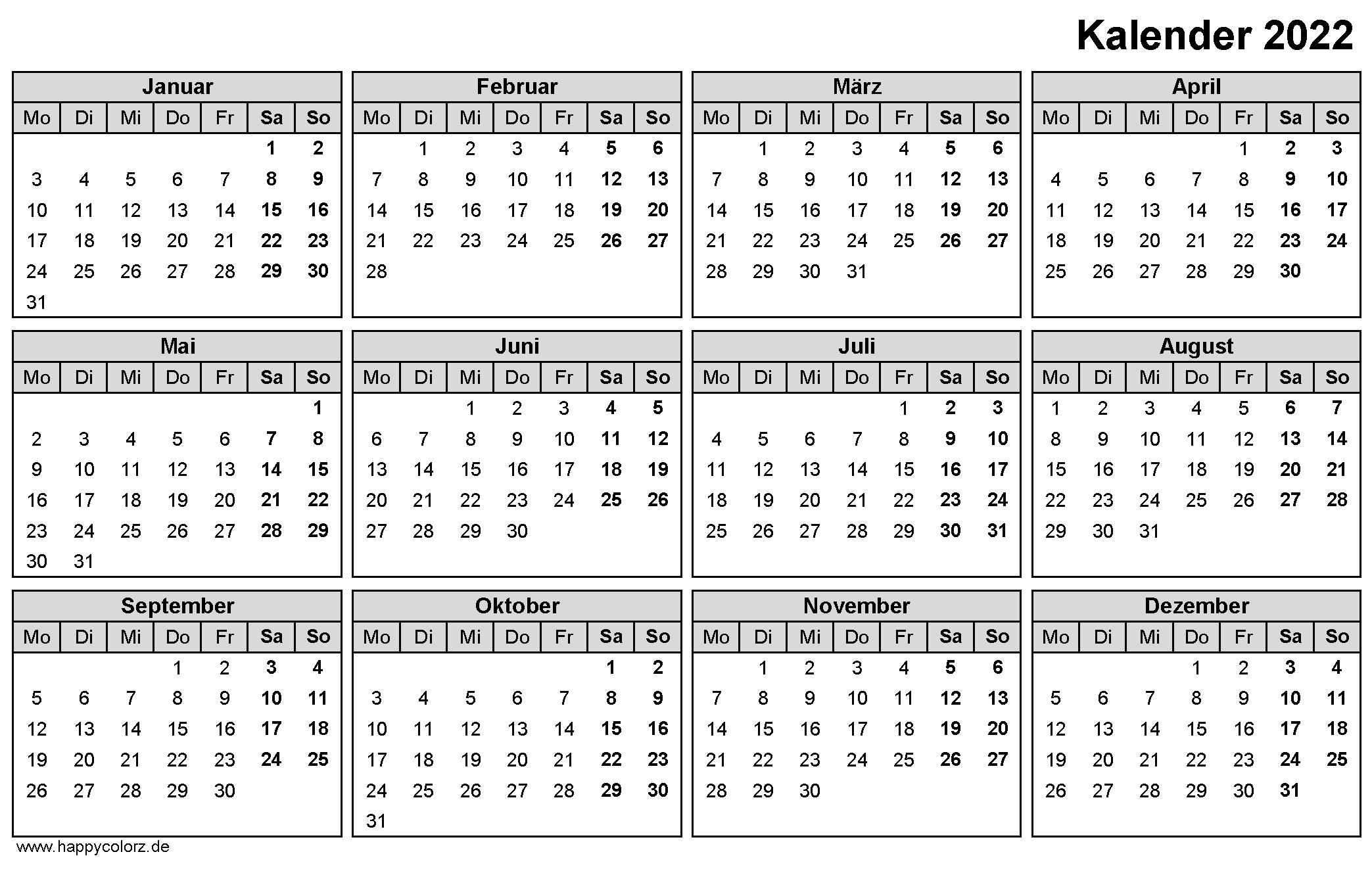 Jahreskalender 2022 zum Ausdrucken