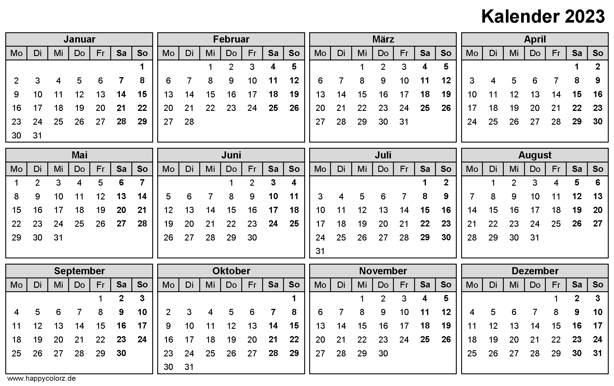 Jahreskalender 2023 zum Ausdrucken