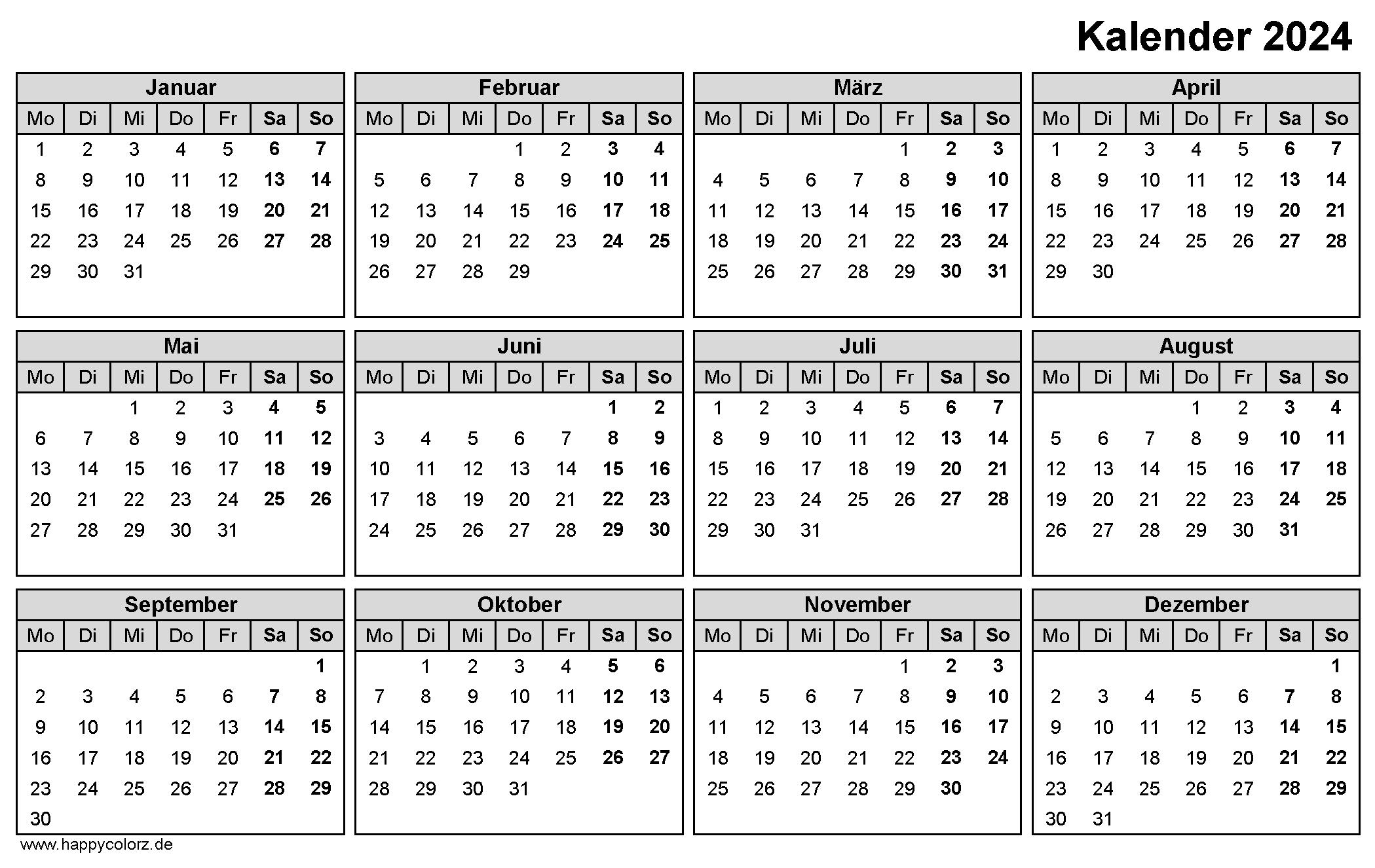 Jahreskalender 2024 zum Ausdrucken