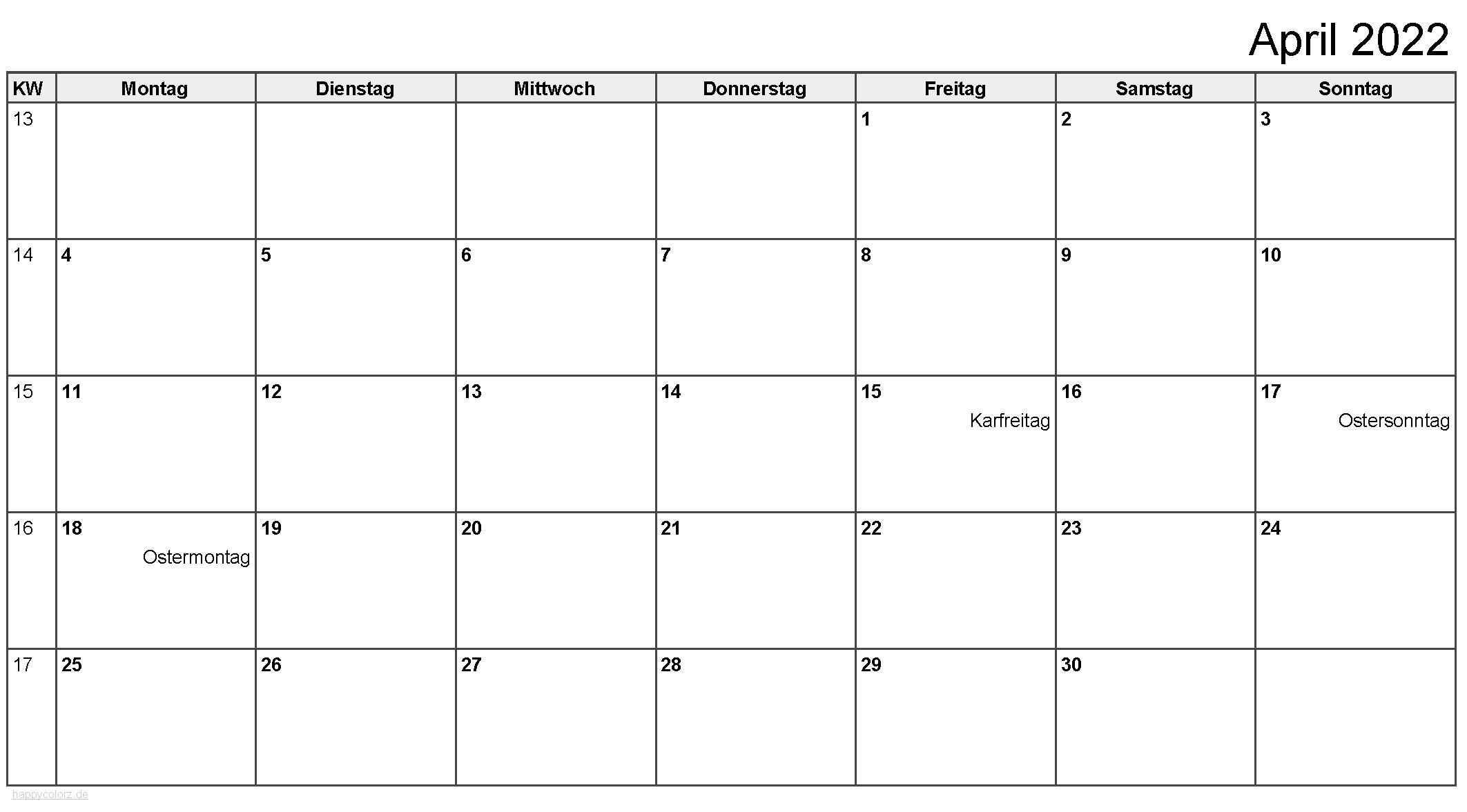 Kalender April 2022 zum Ausdrucken