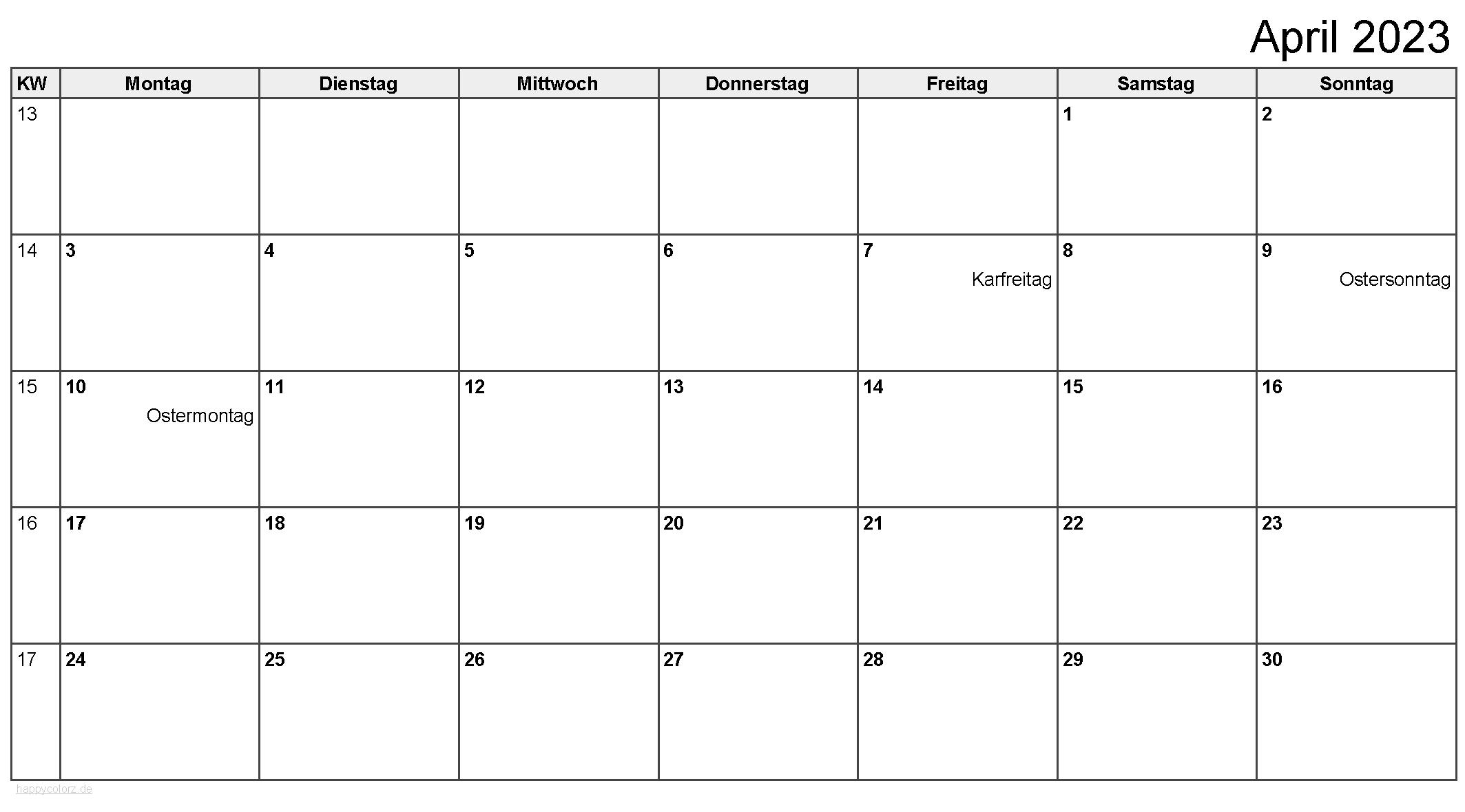 Kalender April 2023 zum Ausdrucken