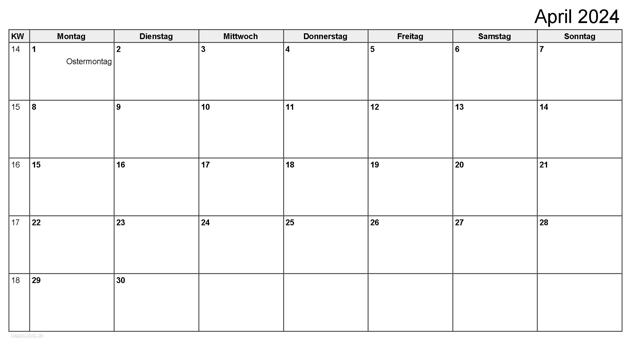 Kalender April 2024 zum Ausdrucken