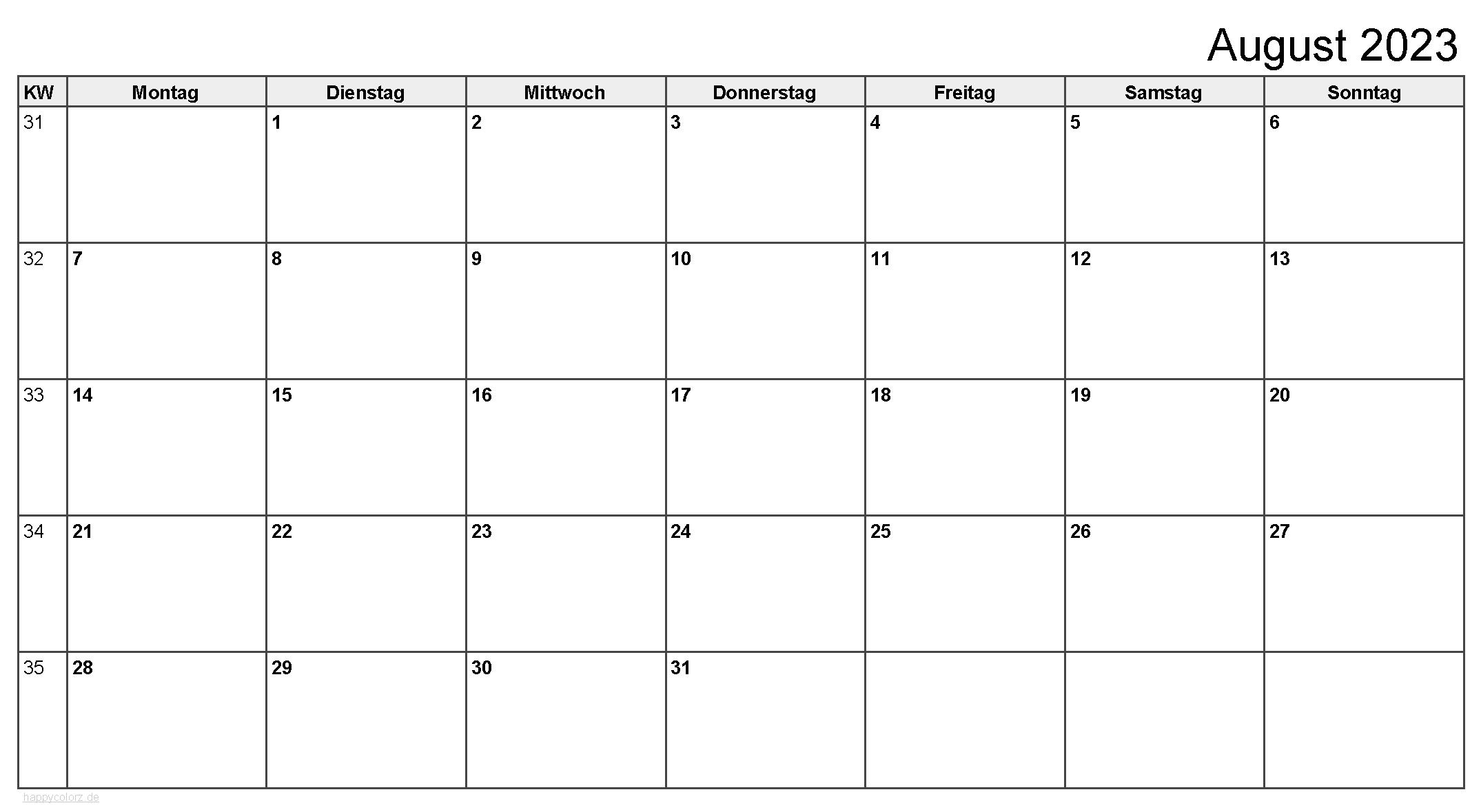 Kalender August 2023 zum Ausdrucken