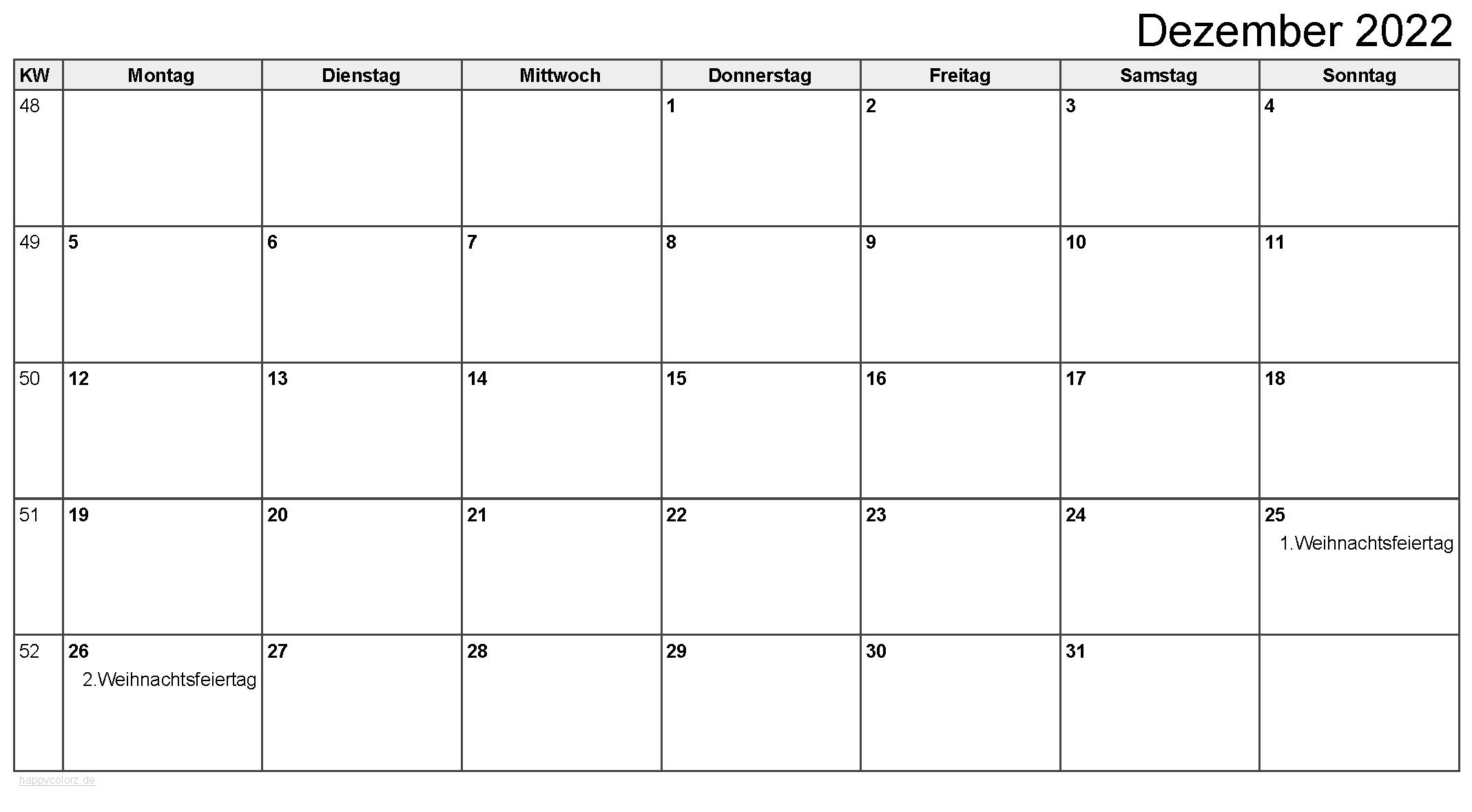 Kalender Dezember 2022 zum Ausdrucken