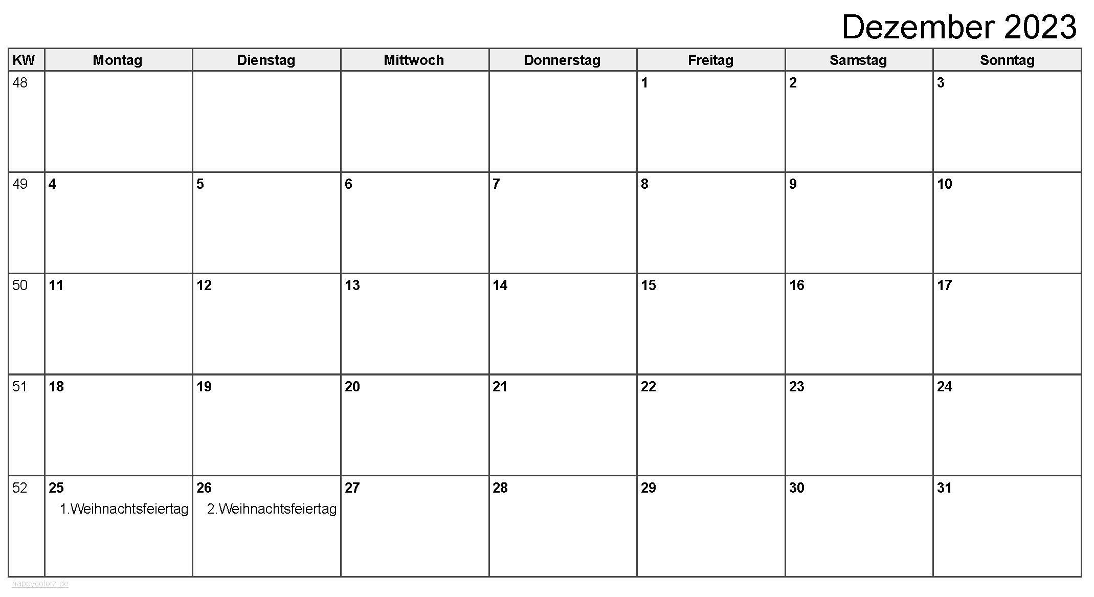 Kalender Dezember 2023 zum Ausdrucken