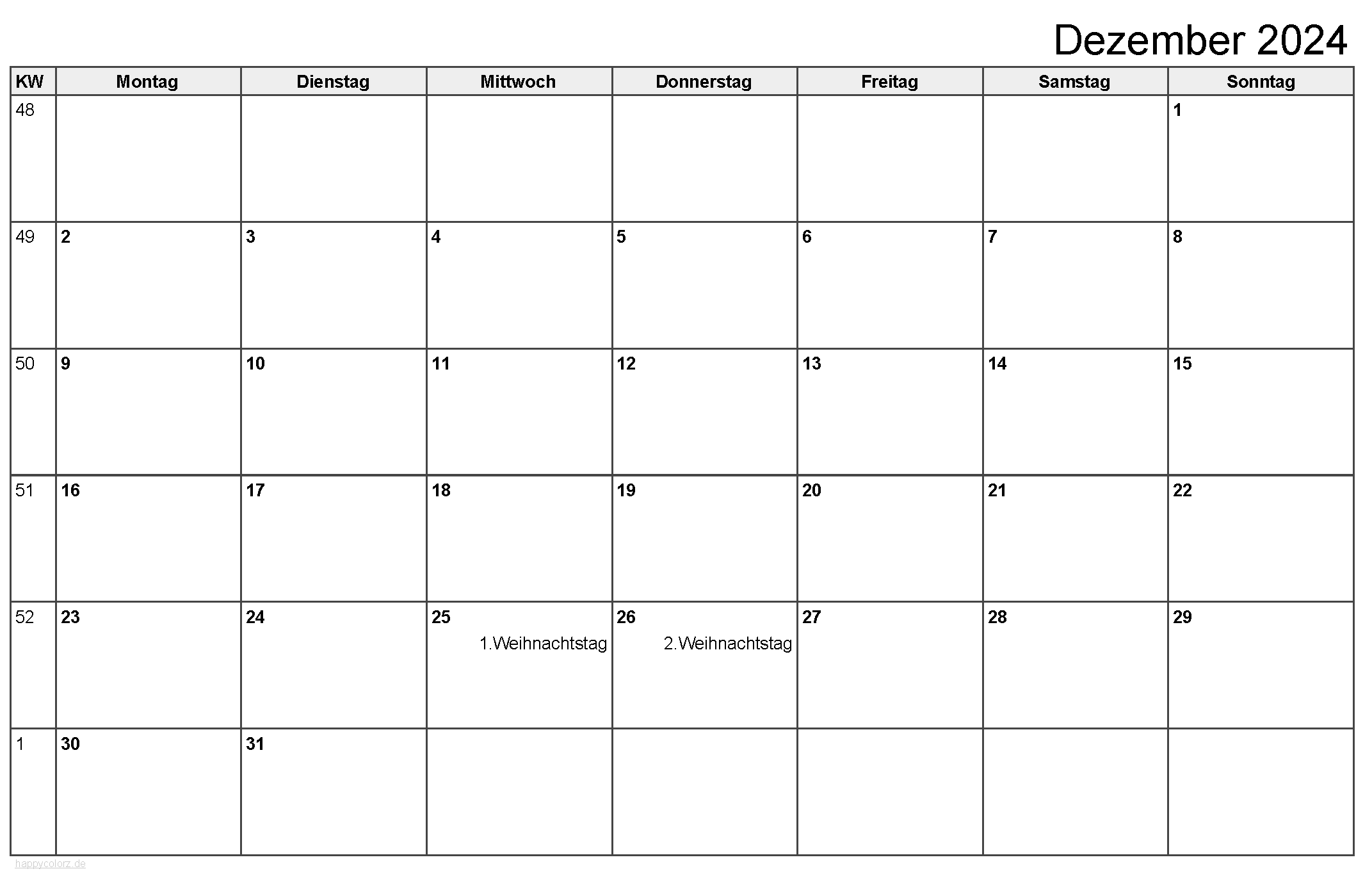 Kalender Dezember 2024 zum Ausdrucken