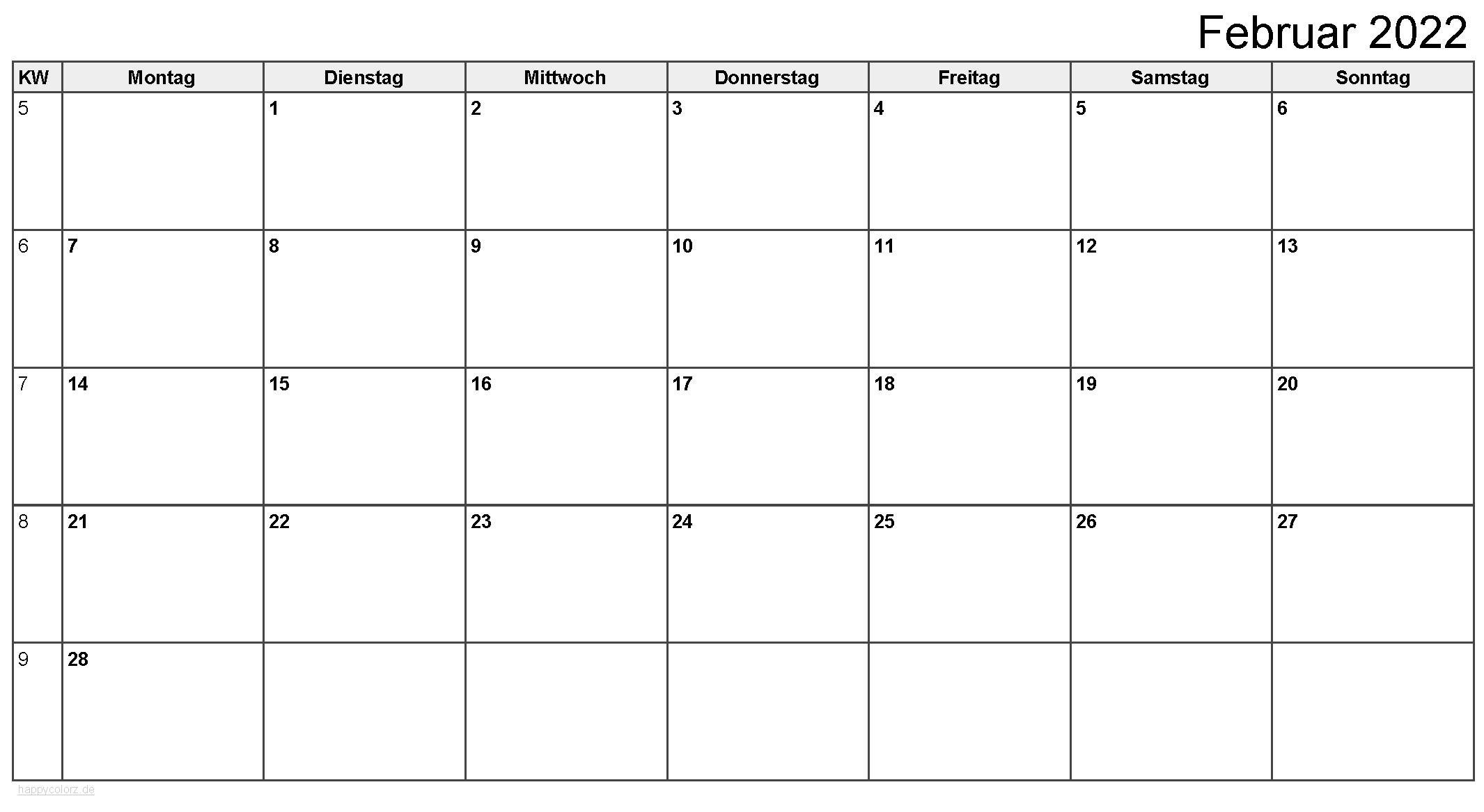 Kalender Februar 2022 zum Ausdrucken