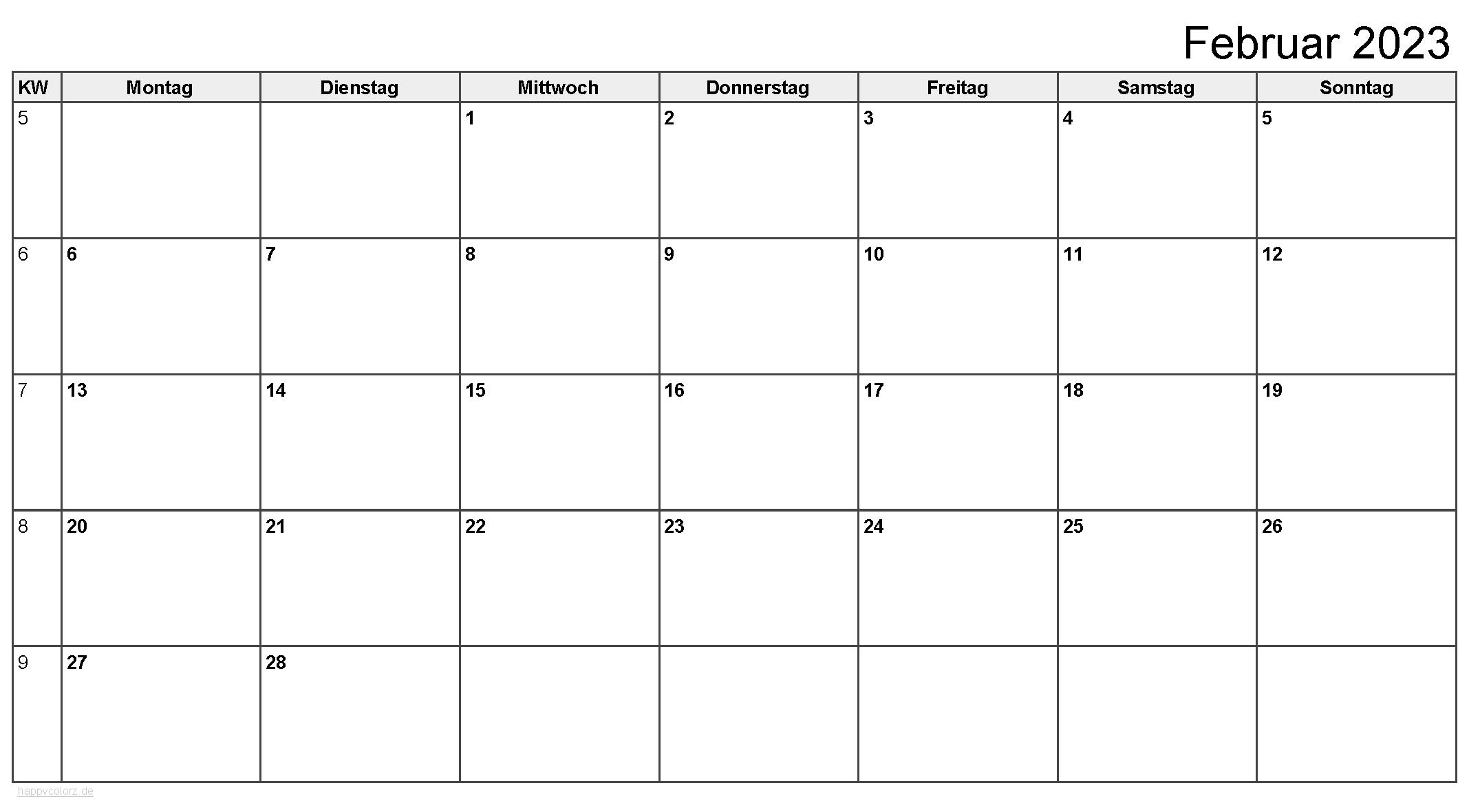 Kalender Februar 2023 zum Ausdrucken