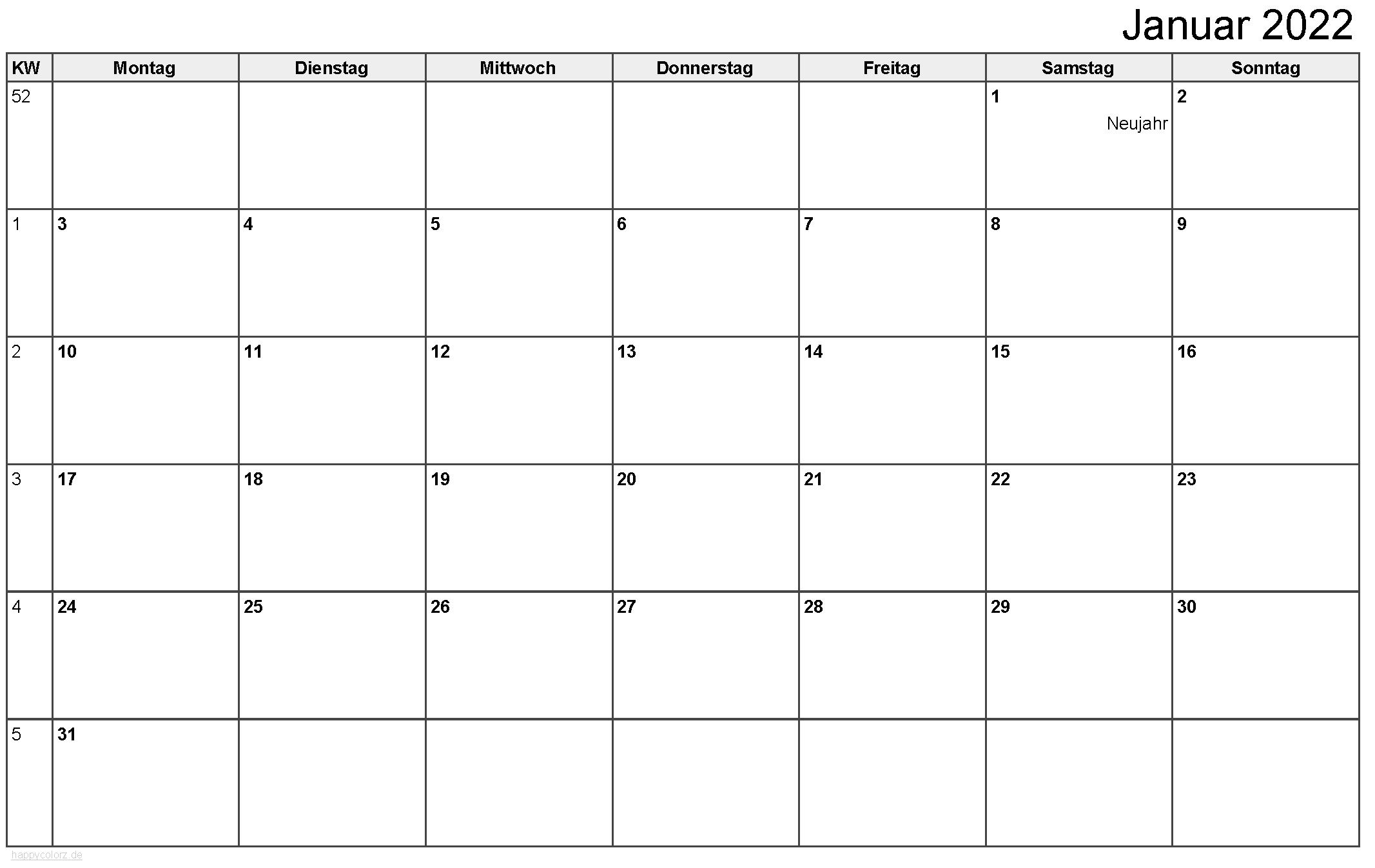 Kalender Januar 2022 zum Ausdrucken