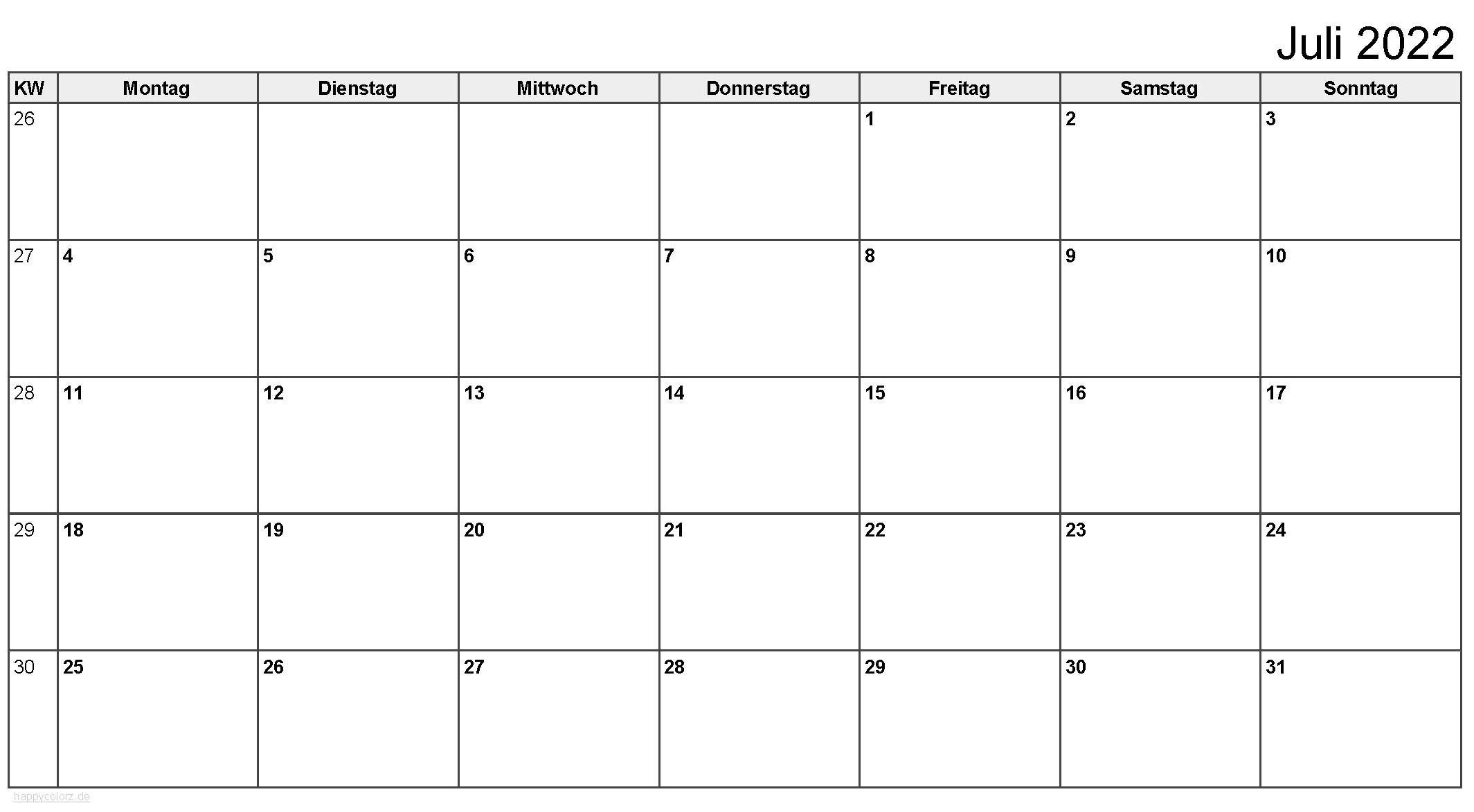 Kalender Juli 2022 zum Ausdrucken