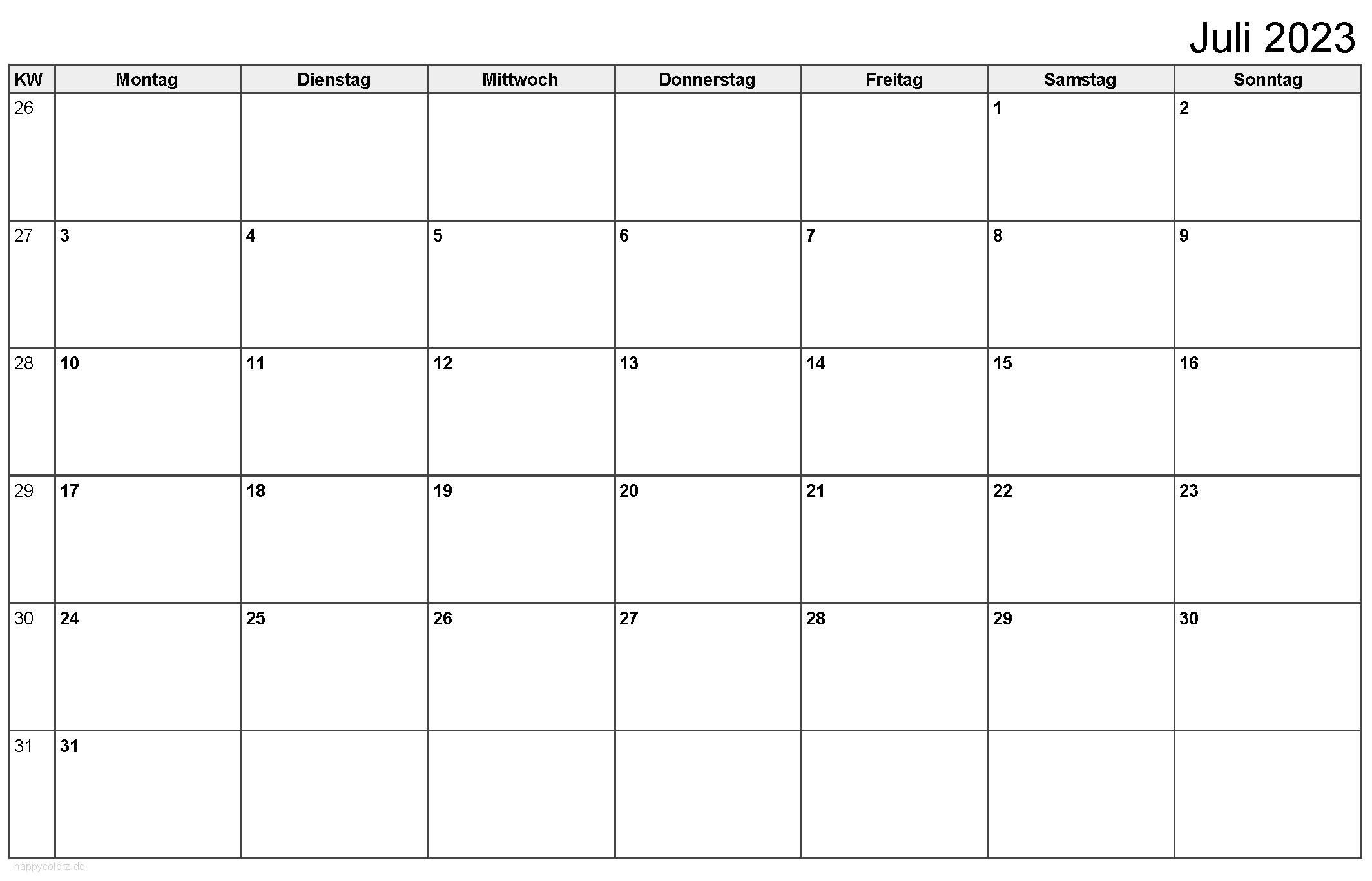 Kalender Juli 2023 zum Ausdrucken