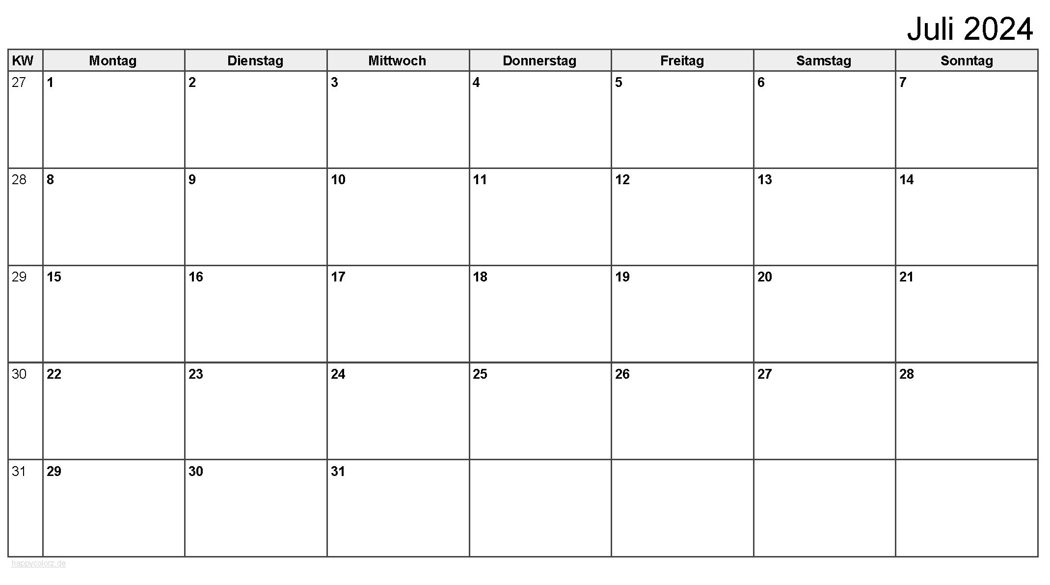 Kalender Juli 2024 zum Ausdrucken