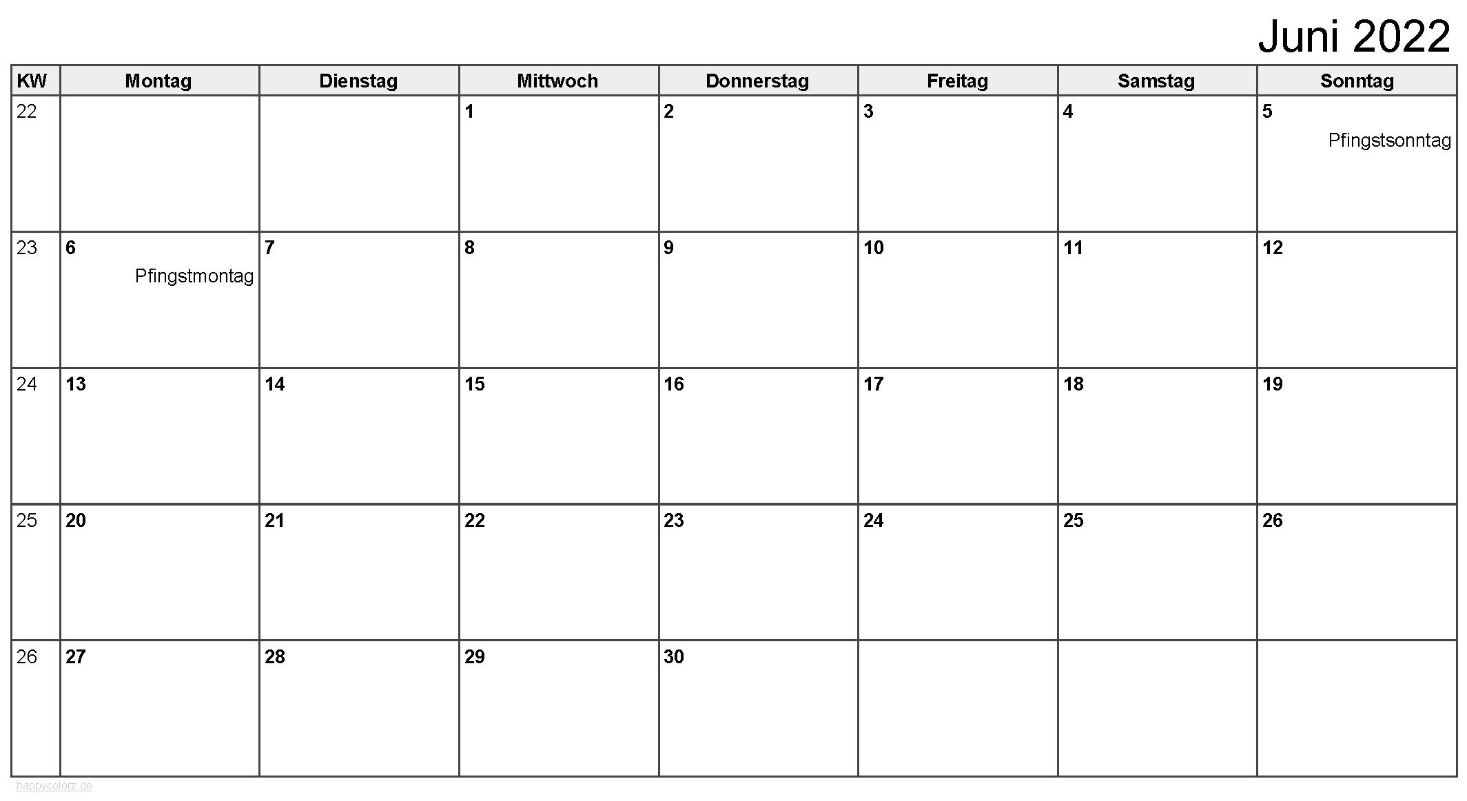 Kalender Juni 2022 zum Ausdrucken