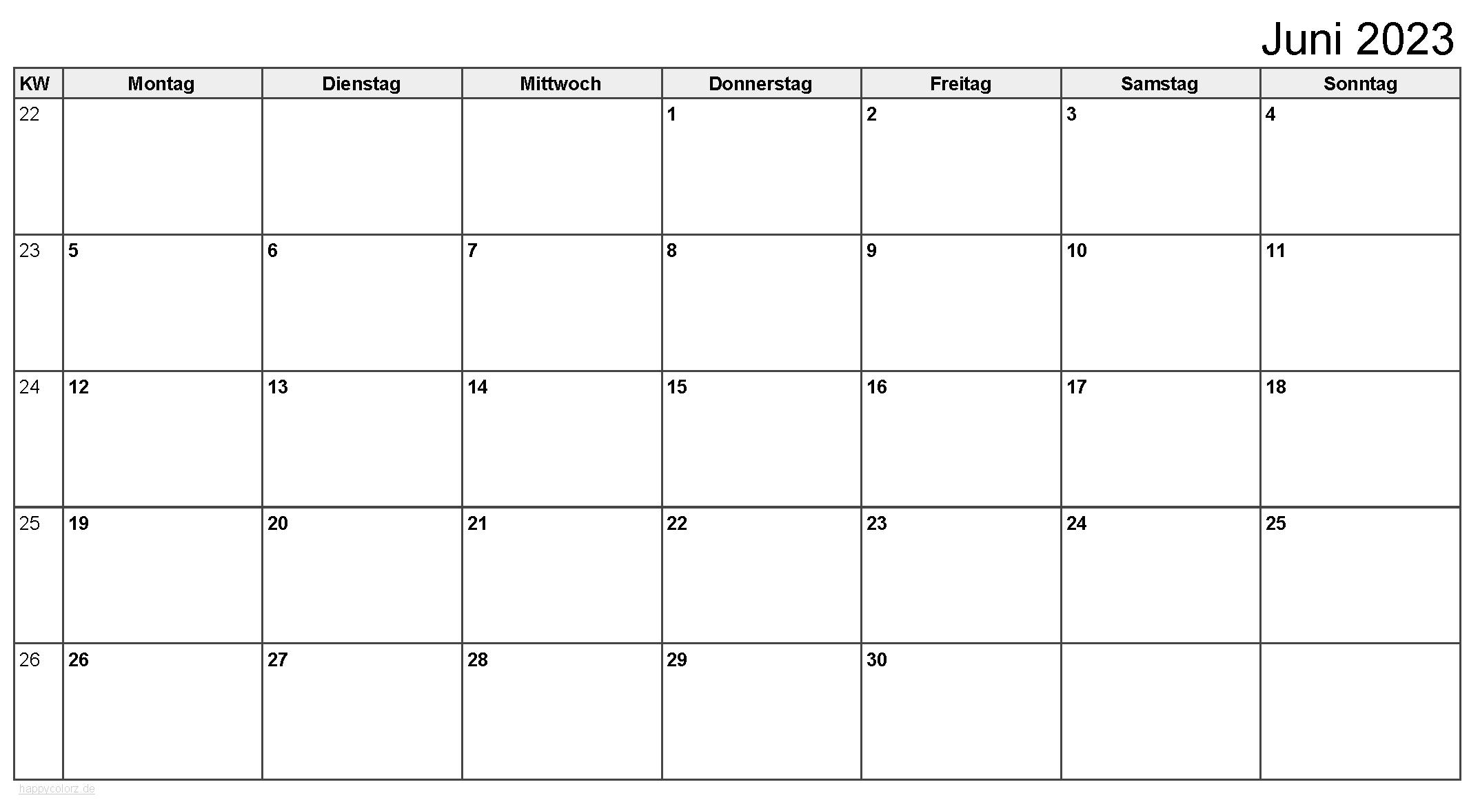 Kalender Juni 2023 zum Ausdrucken