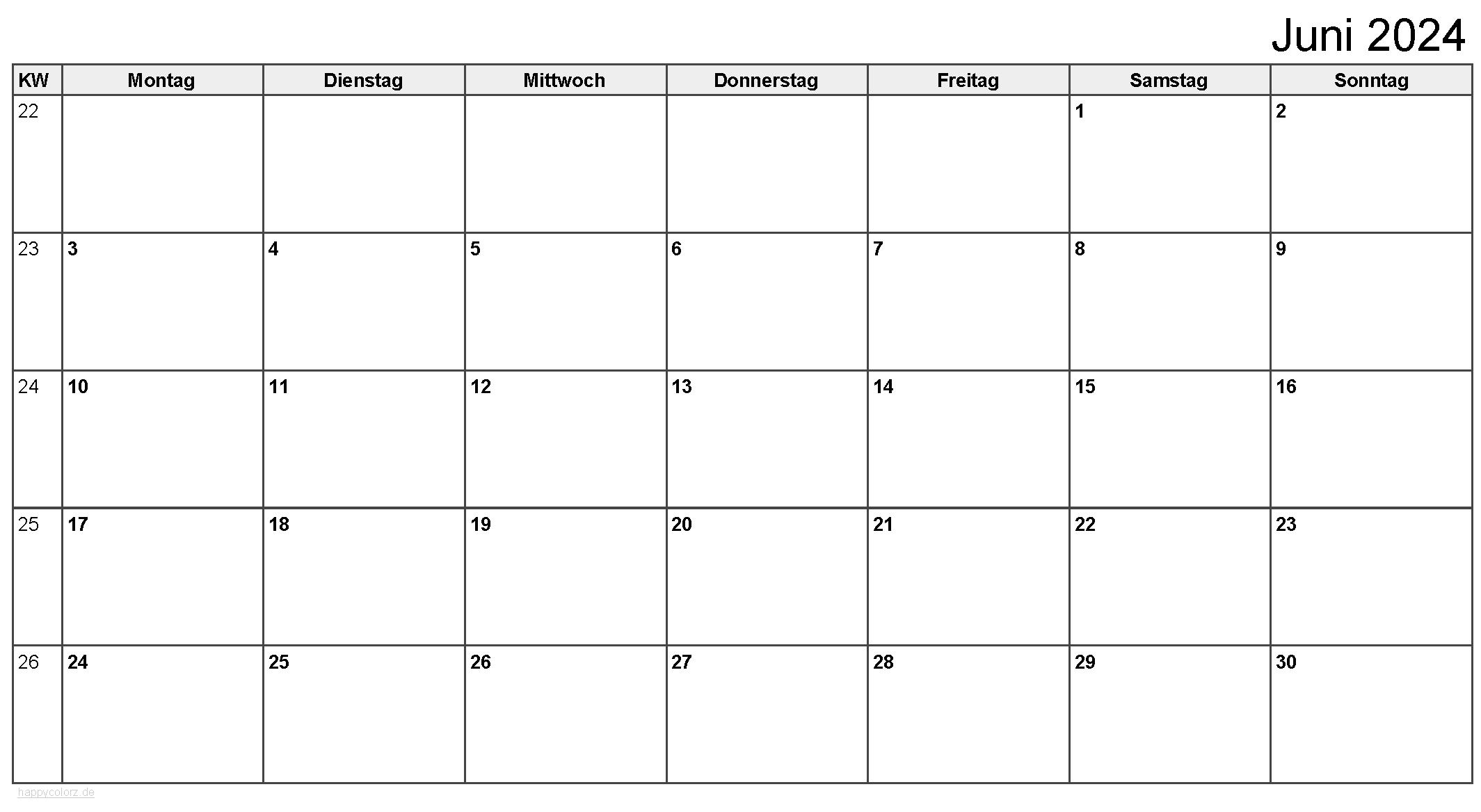 Kalender Juni 2024 zum Ausdrucken