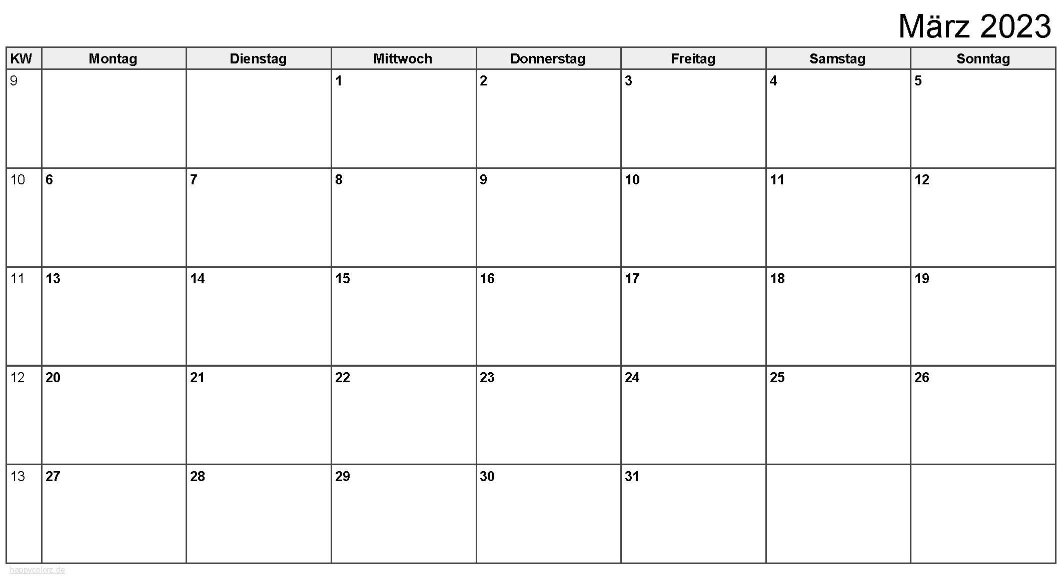 Kalender März 2023 zum Ausdrucken