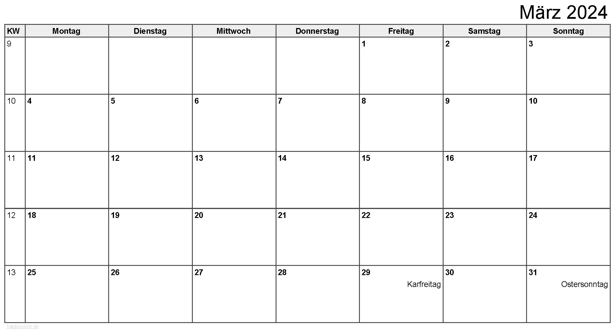 Kalender März 2024 zum Ausdrucken