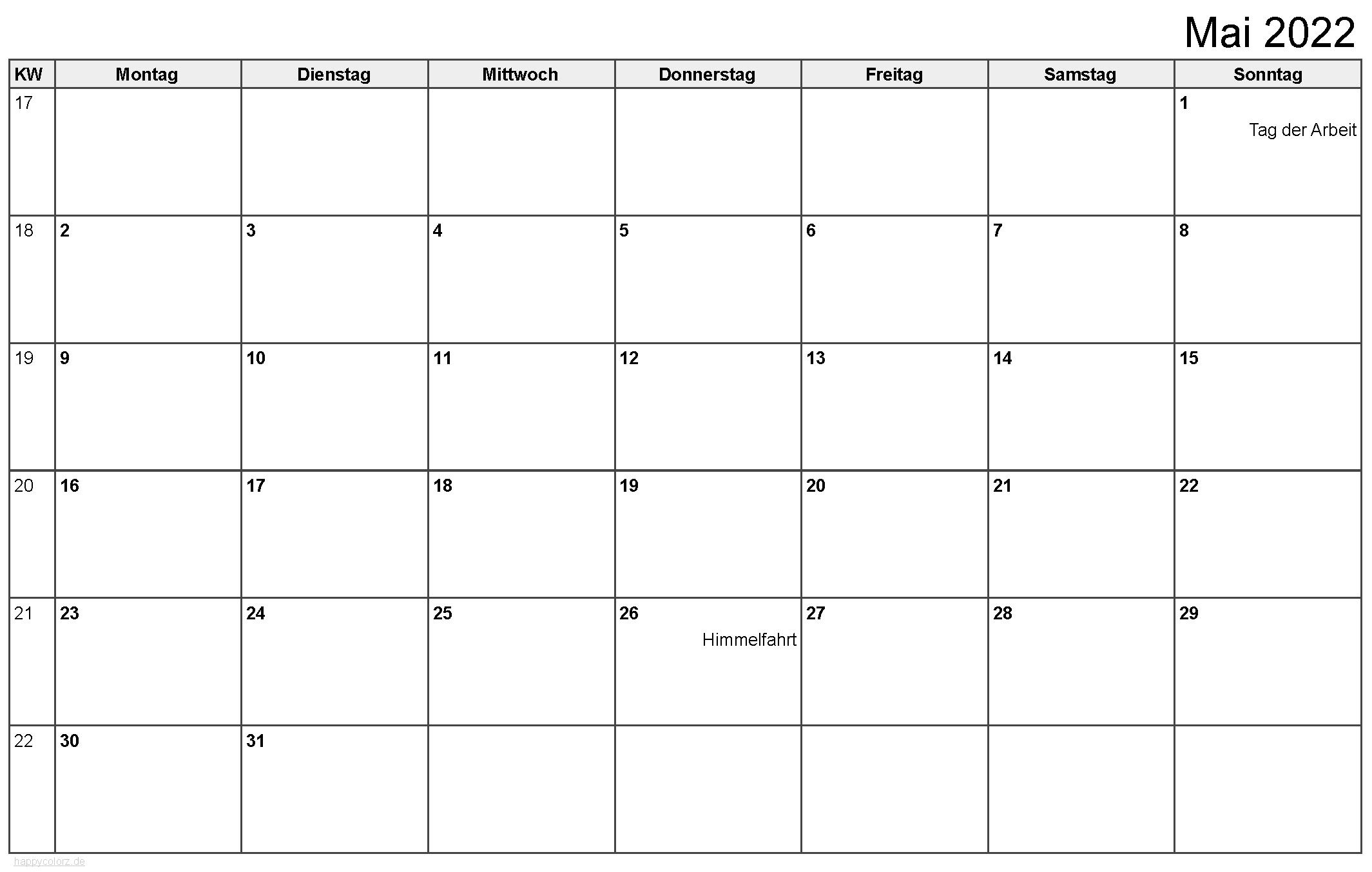 Kalender Mai 2022 zum Ausdrucken