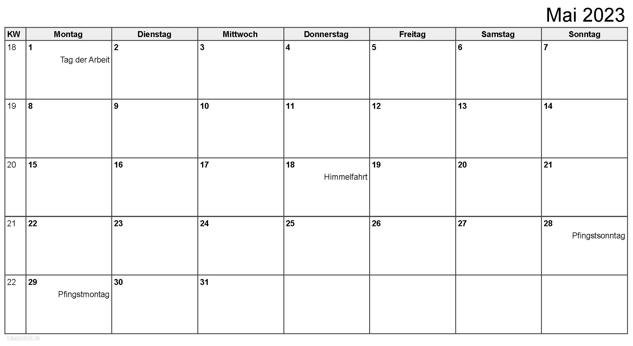 Kalender Mai 2023 zum Ausdrucken
