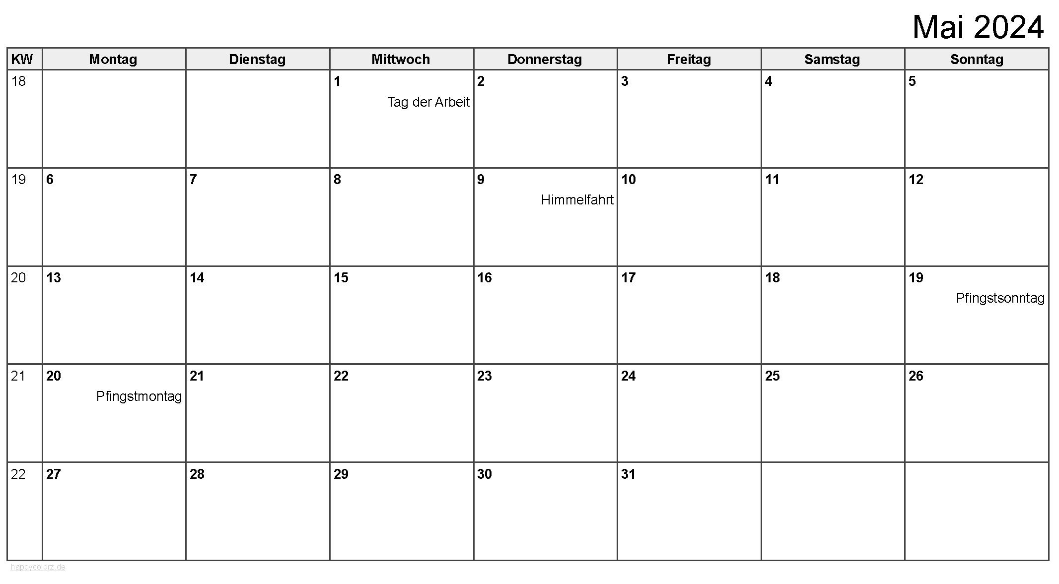 Kalender Mai 2024 zum Ausdrucken