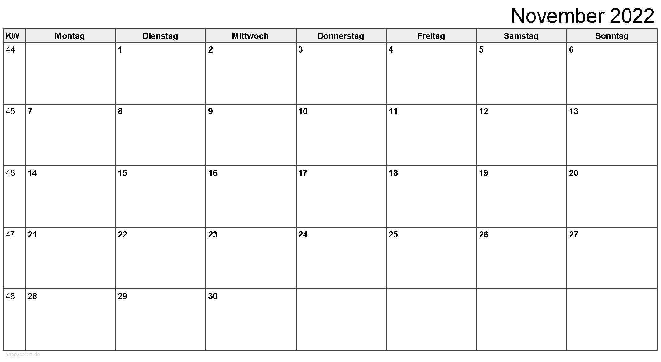 Kalender November 2022 zum Ausdrucken