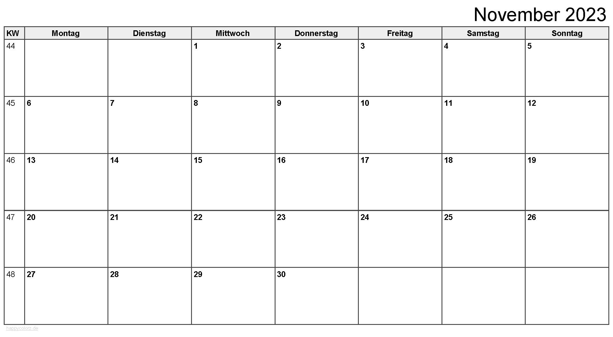 Kalender November 2023 zum Ausdrucken