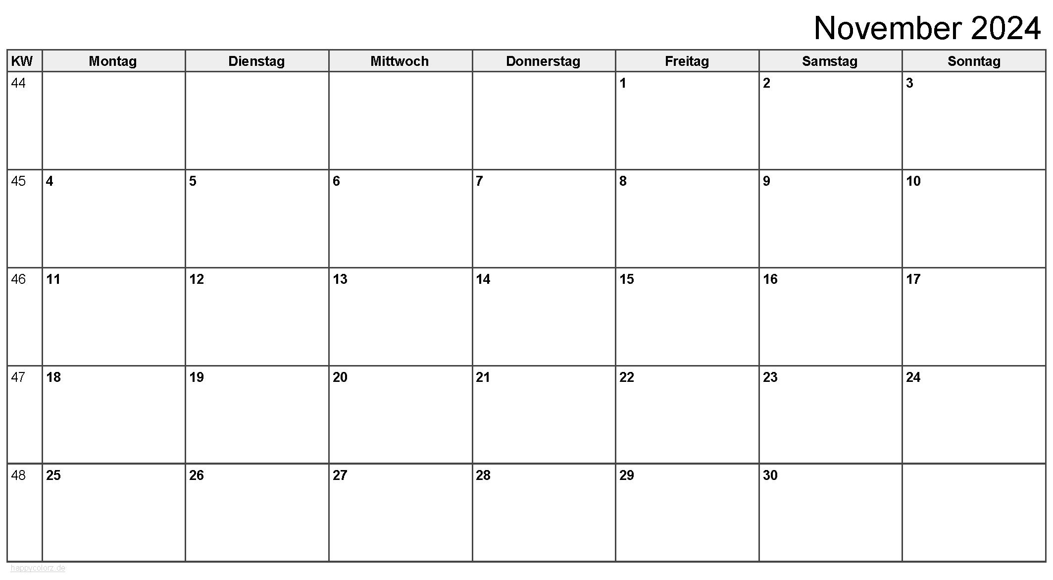 Kalender November 2024 zum Ausdrucken