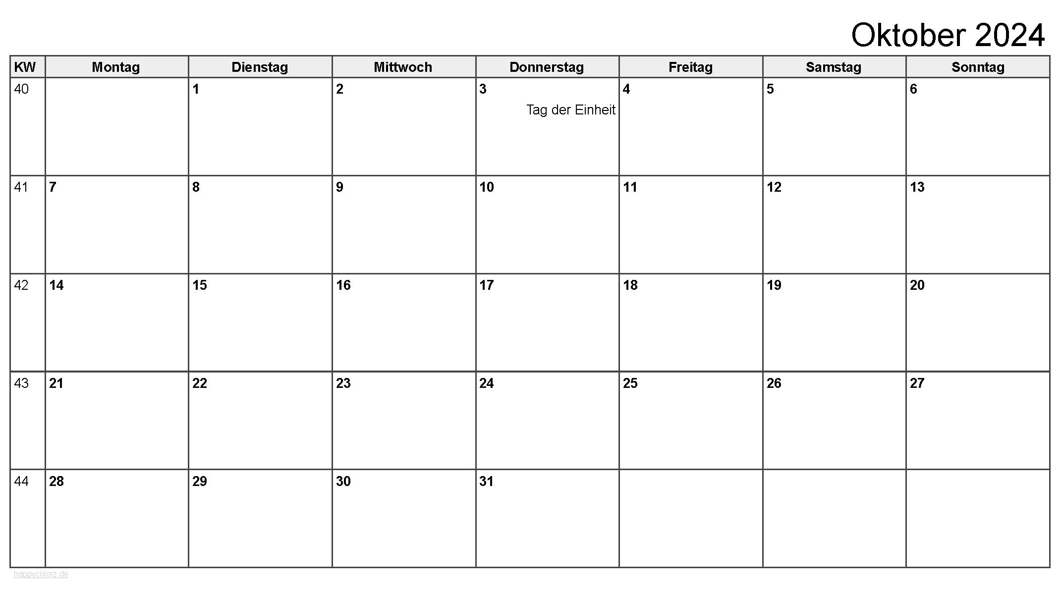 Kalender Oktober 2024 zum Ausdrucken