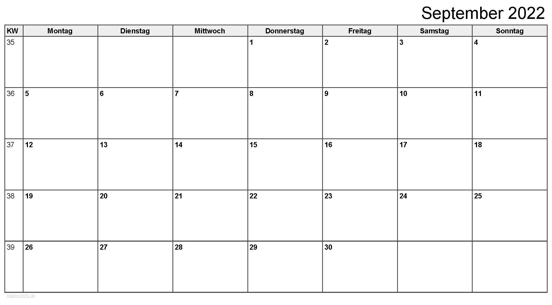 Kalender September 2022 zum Ausdrucken