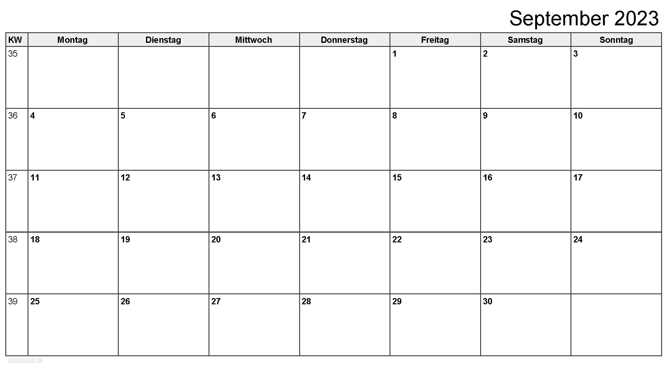 Kalender September 2023 zum Ausdrucken