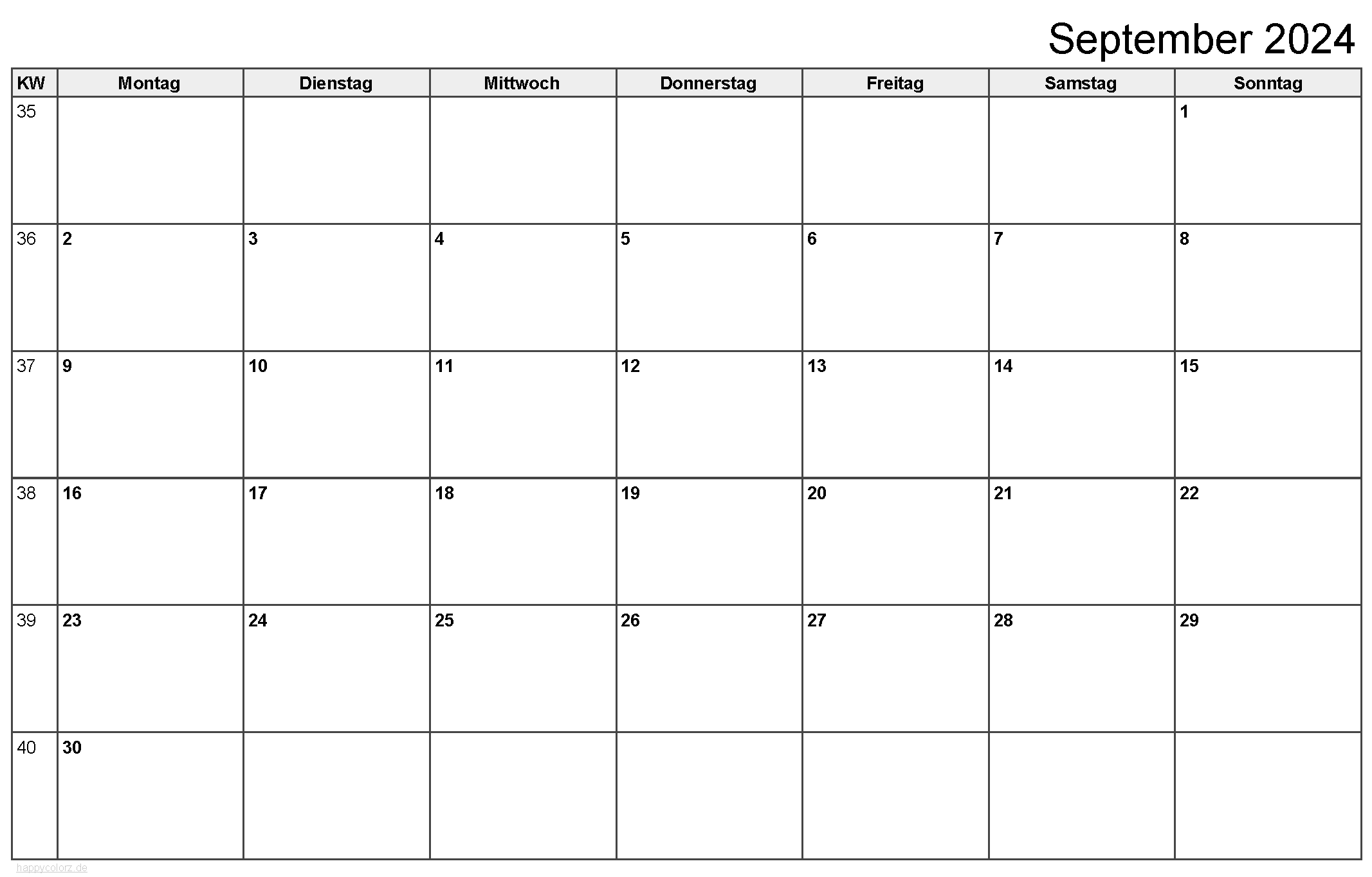 Kalender September 2024 zum Ausdrucken