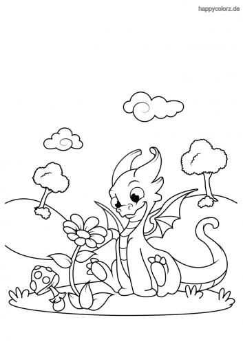 Drache mit Blume Ausmalbild