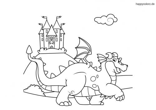 Drache mit Burg Ausmalbild