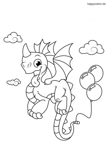 Drache mit Luftballon Malvorlage