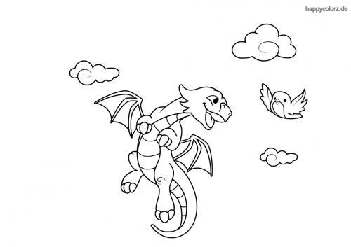 Drache mit Vogel und Wolken Ausmalbild