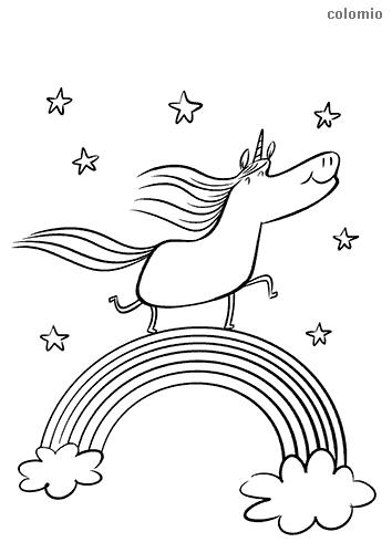 Einhorn auf Regenbogen mit Sternen Malvorlage