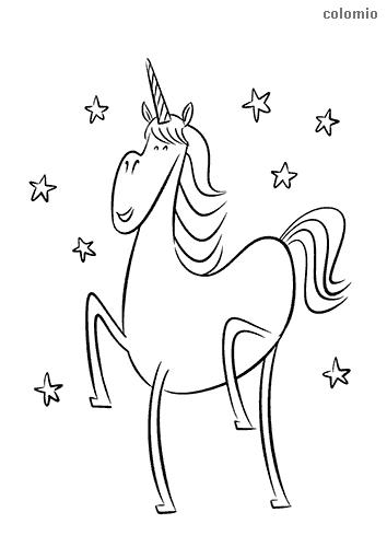 Unicorn mit Sternen Malvorlage