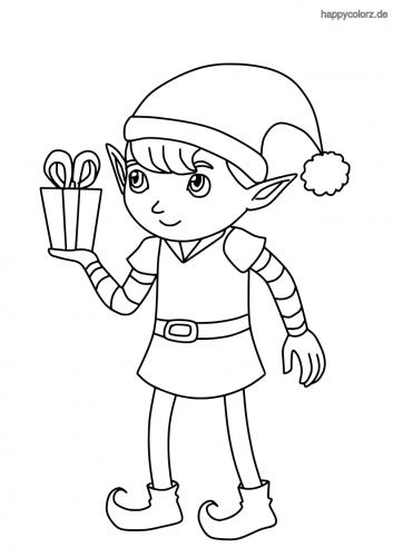 Elf mit Geschenk Ausmalbild