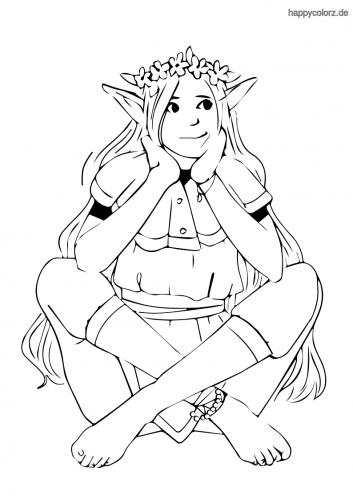 Lachende Elfe Ausmalbild