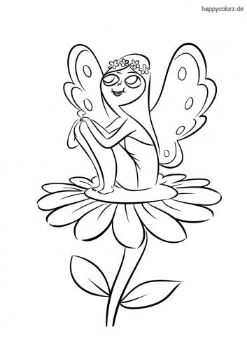 Fee auf der Blume Ausmalbild
