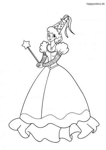 Fee mit schönem Kleid Ausmalbild