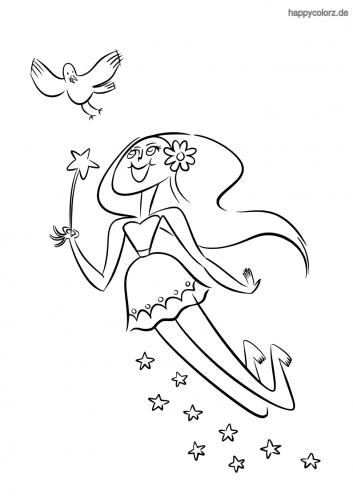 Fee mit Vogel und Sternen Ausmalbild