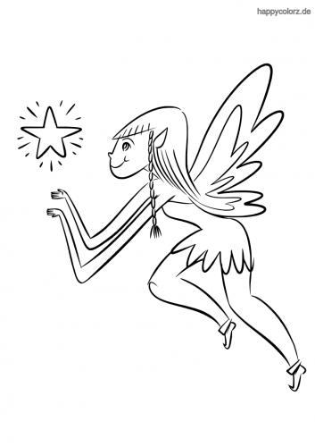 Fliegende Fee mit Stern Malvorlage