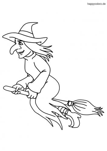Hexe auf dem Besen Ausmalbild