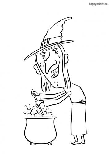 Hexe braut Zaubertrank Malvorlage
