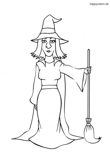 Hexe mit Besen und Hut Malvorlage