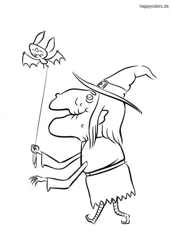 Hexe mit Fledermaus Ausmalbild
